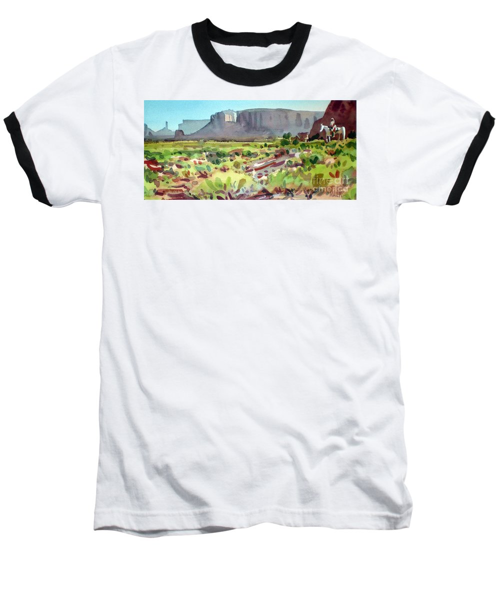 Navajo Baseball T-Shirt featuring the painting Lone Rider by Donald Maier