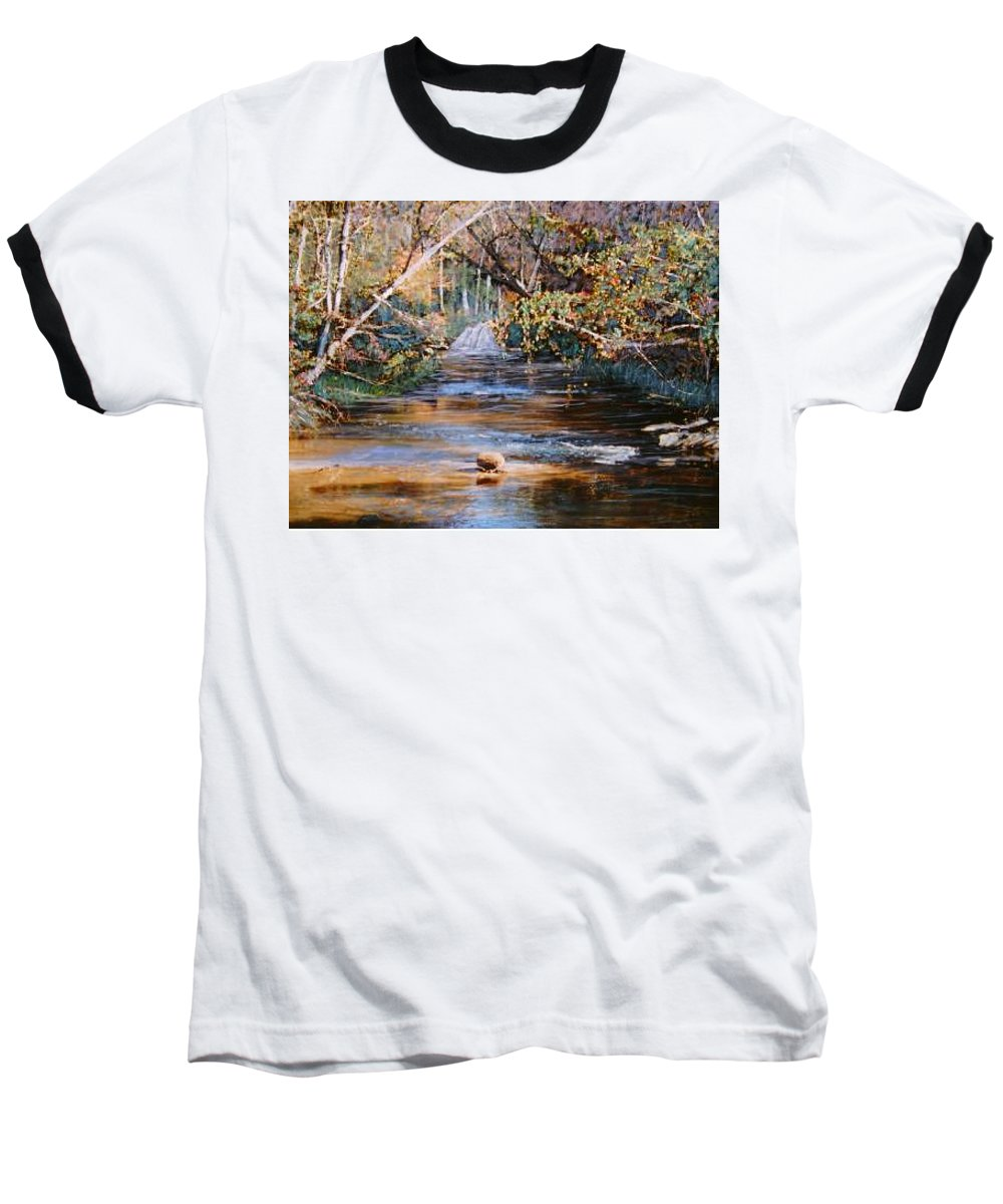 River; Waterfalls Baseball T-Shirt featuring the painting My Secret Place by Ben Kiger
