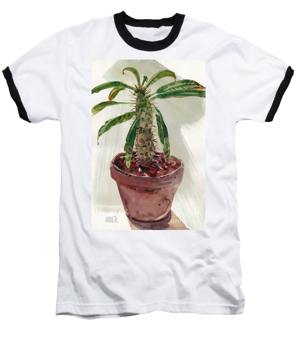 Euphorbia Baseball T-Shirt featuring the painting Pachypodium by Donald Maier