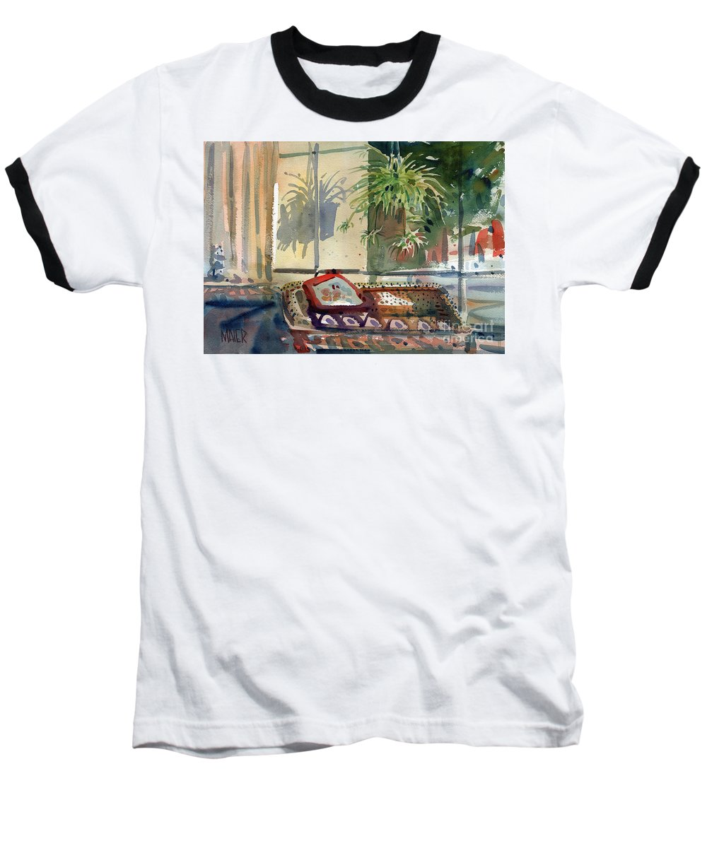 Spider Plant Baseball T-Shirt featuring the painting Spider Plant In The Window by Donald Maier