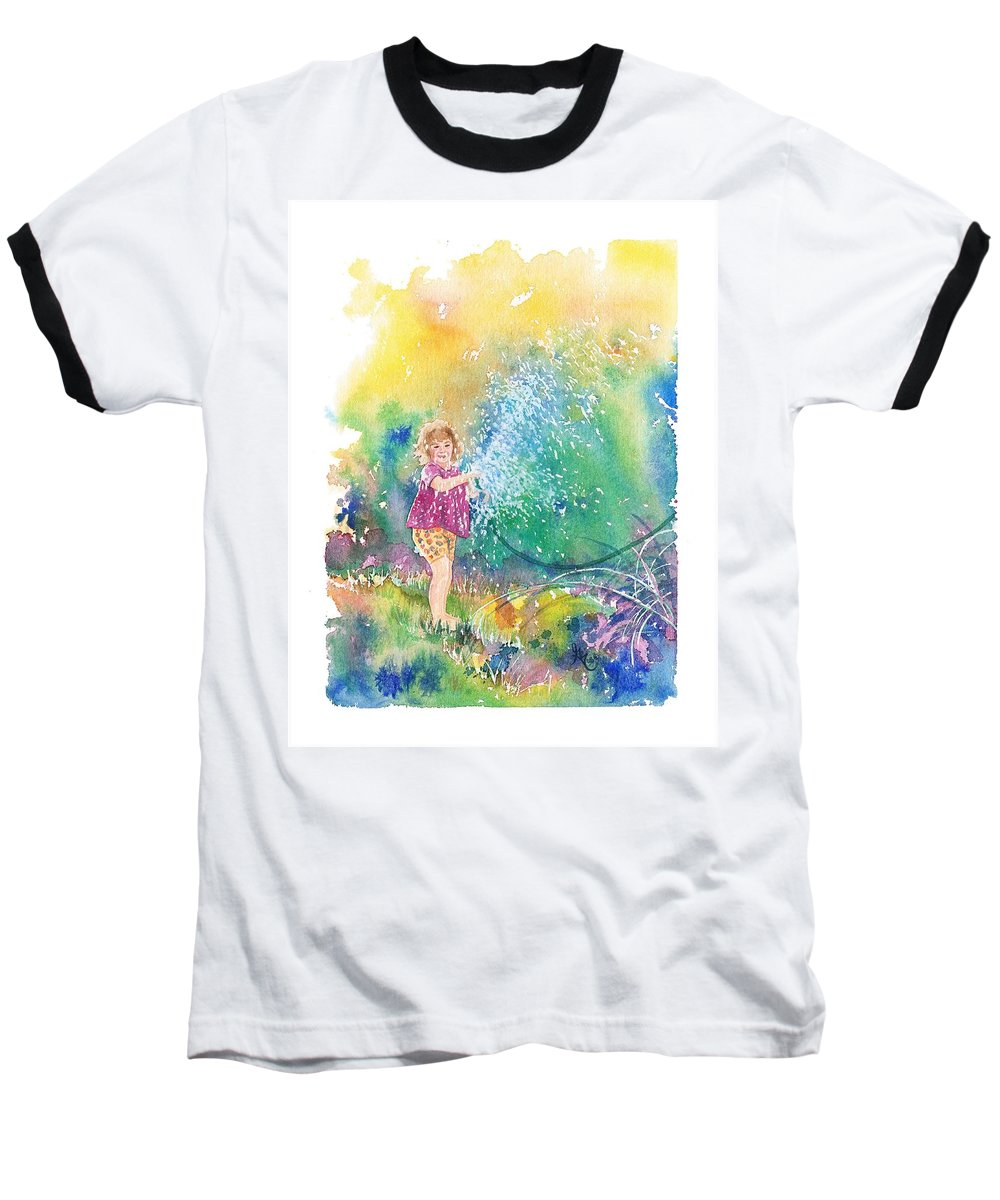 Children Baseball T-Shirt featuring the painting Summer Fun by Gale Cochran-Smith