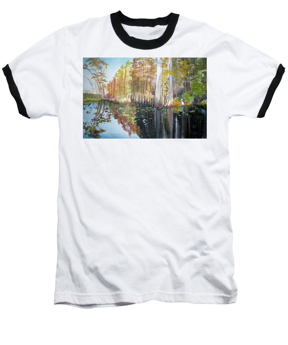 Landscape Of A South Florida Swamp At Dusk Feels Very Wild Baseball T-Shirt featuring the painting Swamp Reflection by Hal Newhouser