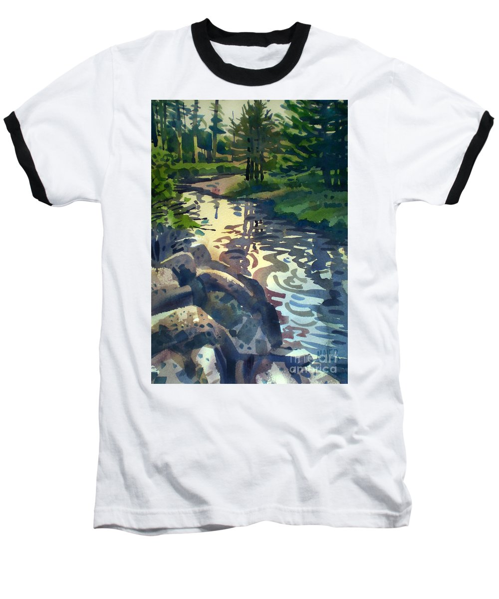 Stream Baseball T-Shirt featuring the painting Up With The Fishes by Donald Maier