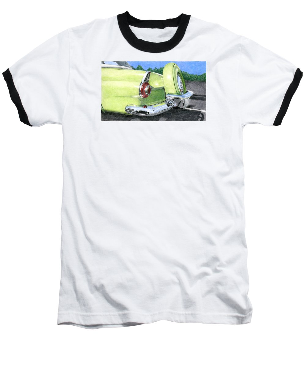 Classic Baseball T-Shirt featuring the drawing 1956 Ford Thunderbird by Rob De Vries