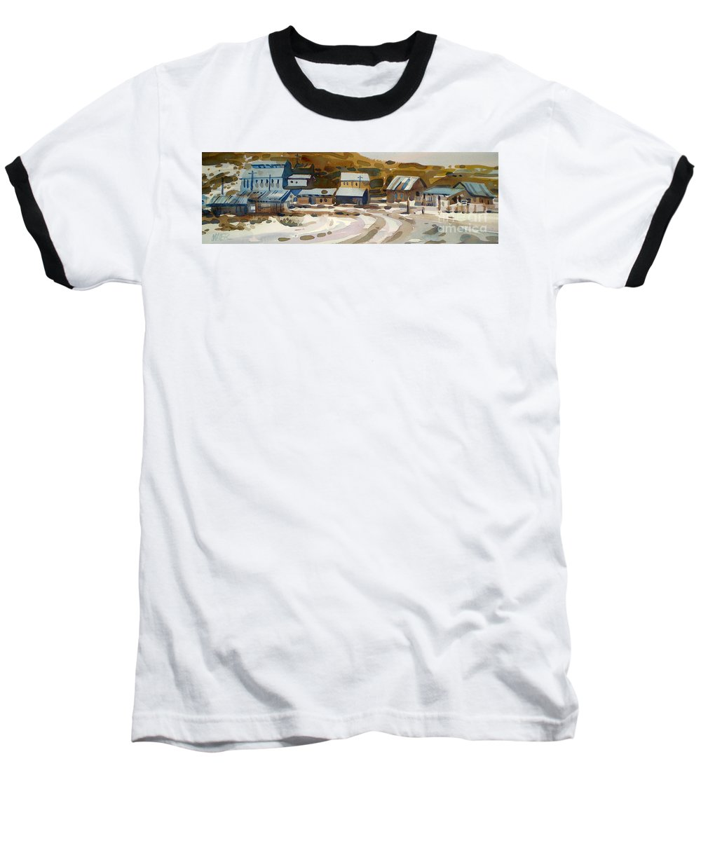 Ghost Town Baseball T-Shirt featuring the painting Bodie California 1979 by Donald Maier