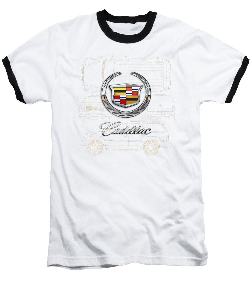'wheels Of Fortune' By Serge Averbukh Baseball T-Shirt featuring the photograph Cadillac 3 D Badge over Cadillac Escalade Blueprint by Serge Averbukh