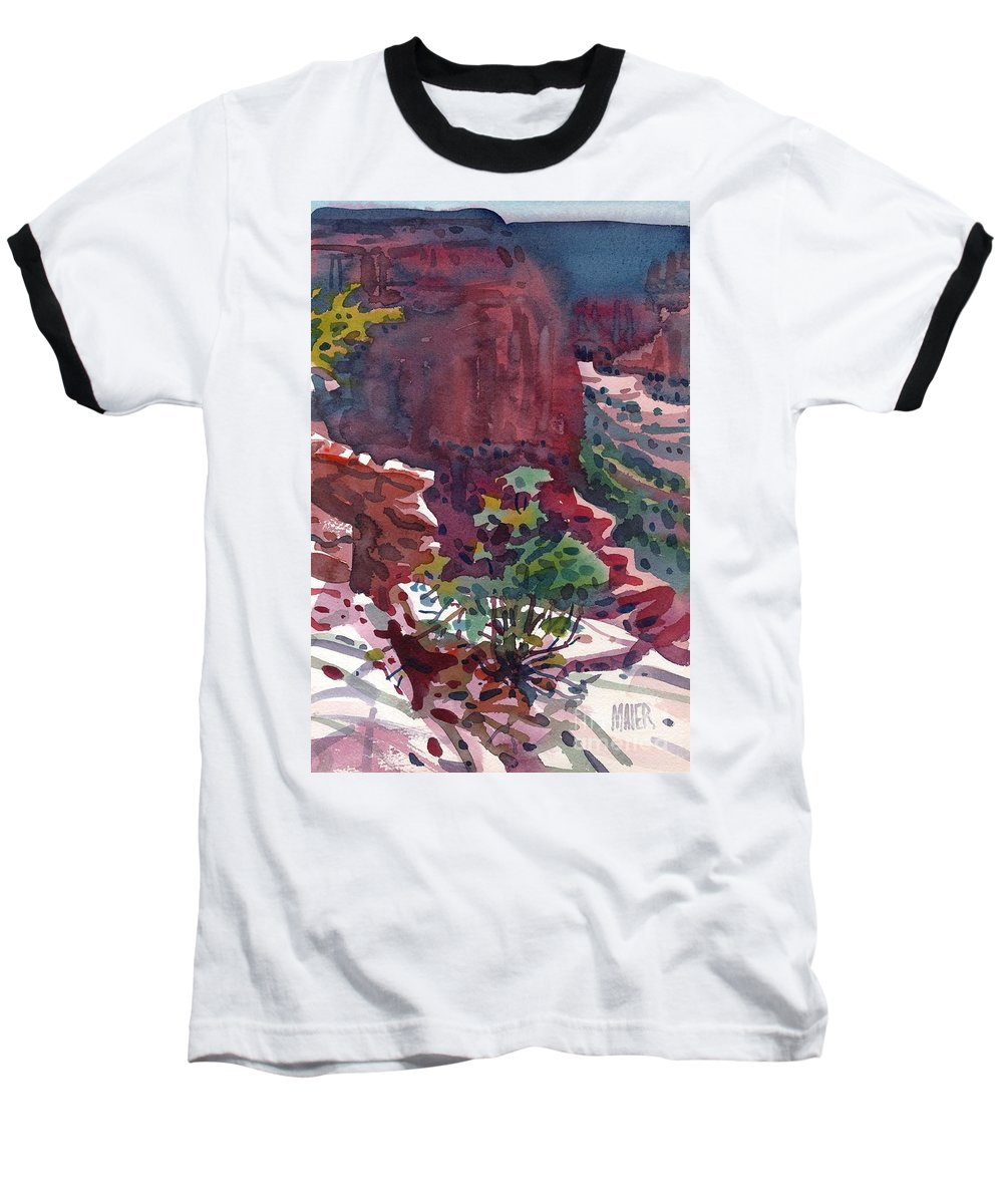 Canyon De Chelly Baseball T-Shirt featuring the painting Canyon View by Donald Maier