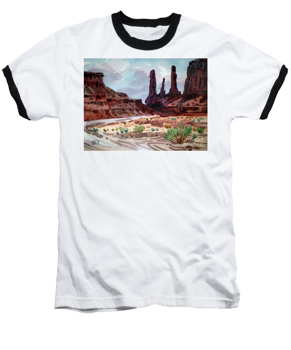 Monument Valley Baseball T-Shirt featuring the painting Three Sisters by Donald Maier