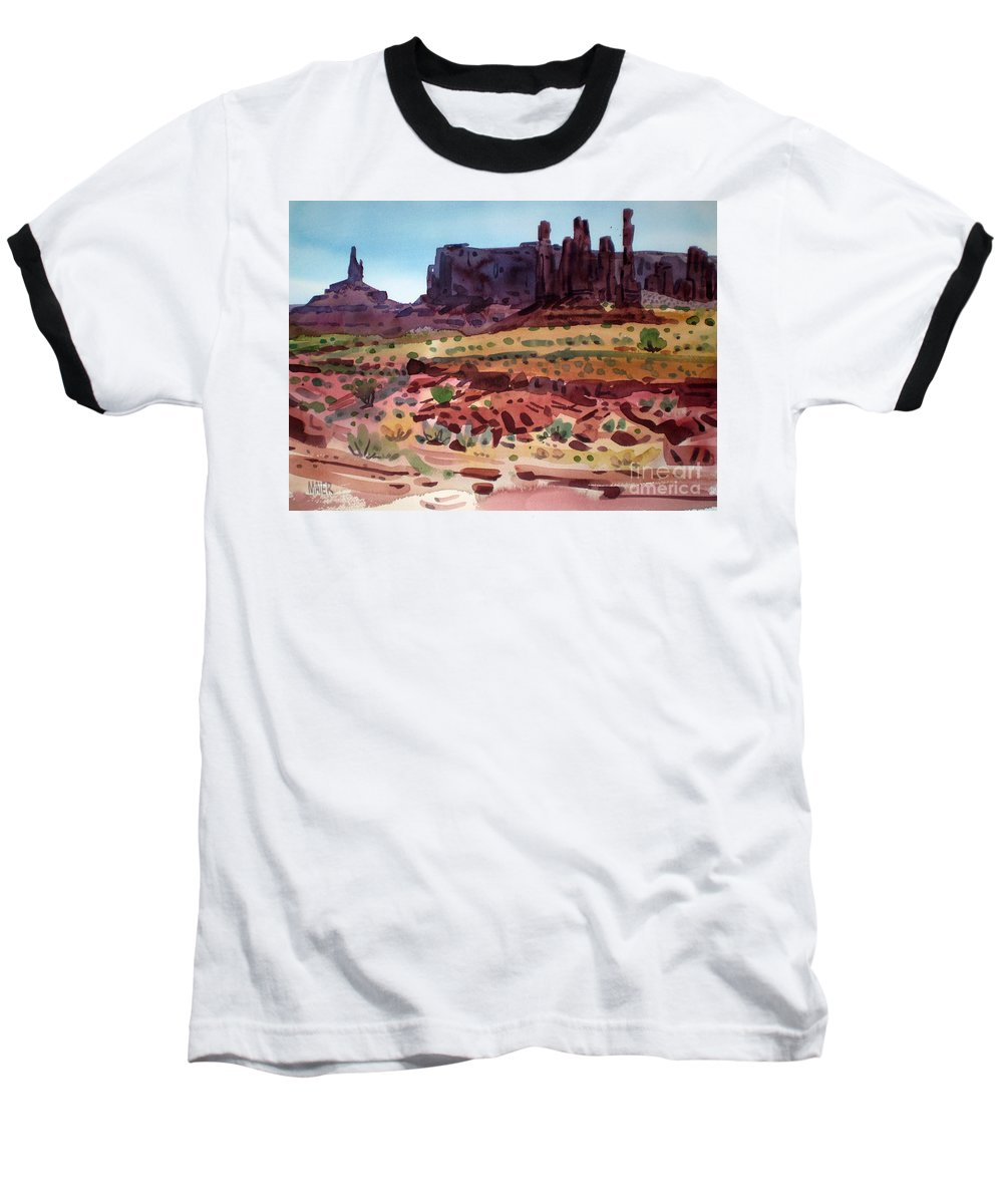 Monument Valley Baseball T-Shirt featuring the painting Totem Poles by Donald Maier