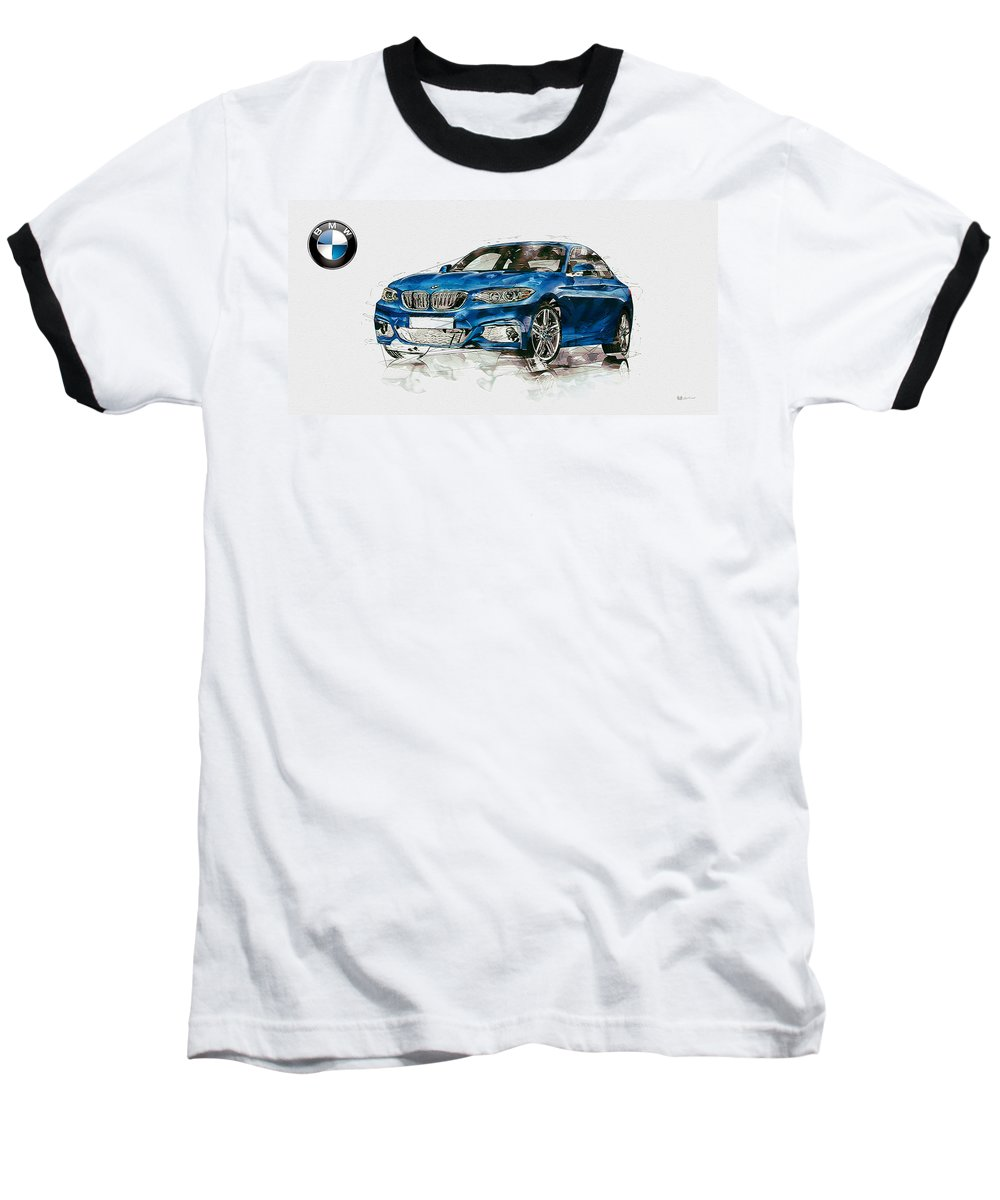 Wheels Of Fortune By Serge Averbukh Baseball T-Shirt featuring the photograph 2014 B M W 2 Series Coupe With 3d Badge by Serge Averbukh