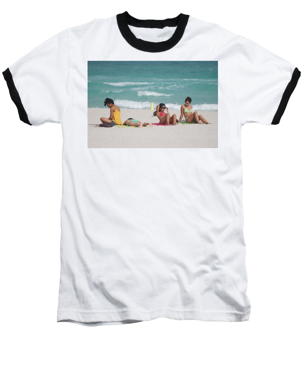 Sea Scape Baseball T-Shirt featuring the photograph 3 Up 1 Down At The Beach by Rob Hans