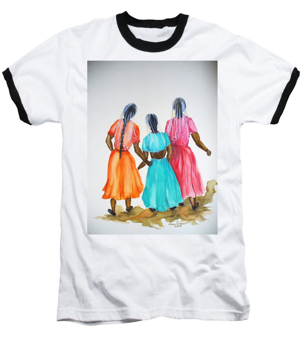 Three Ladies East Indian Baseball T-Shirt featuring the painting 3bff by Karin Dawn Kelshall- Best