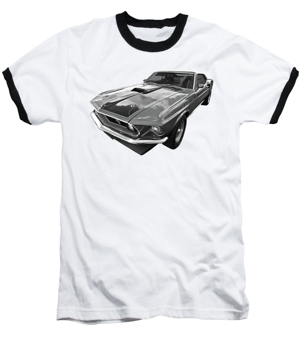 Ford Mustang Baseball T-Shirt featuring the photograph 428 Cobra Jet Mach1 Ford Mustang 1969 In Black And White by Gill Billington