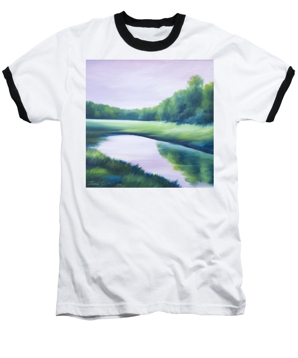 Nature; Lake; Sunset; Sunrise; Serene; Forest; Trees; Water; Ripples; Clearing; Lagoon; James Christopher Hill; Jameshillgallery.com; Foliage; Sky; Realism; Oils; Green; Tree; Blue; Pink; Pond; Lake Baseball T-Shirt featuring the painting A Day In The Life 1 by James Christopher Hill