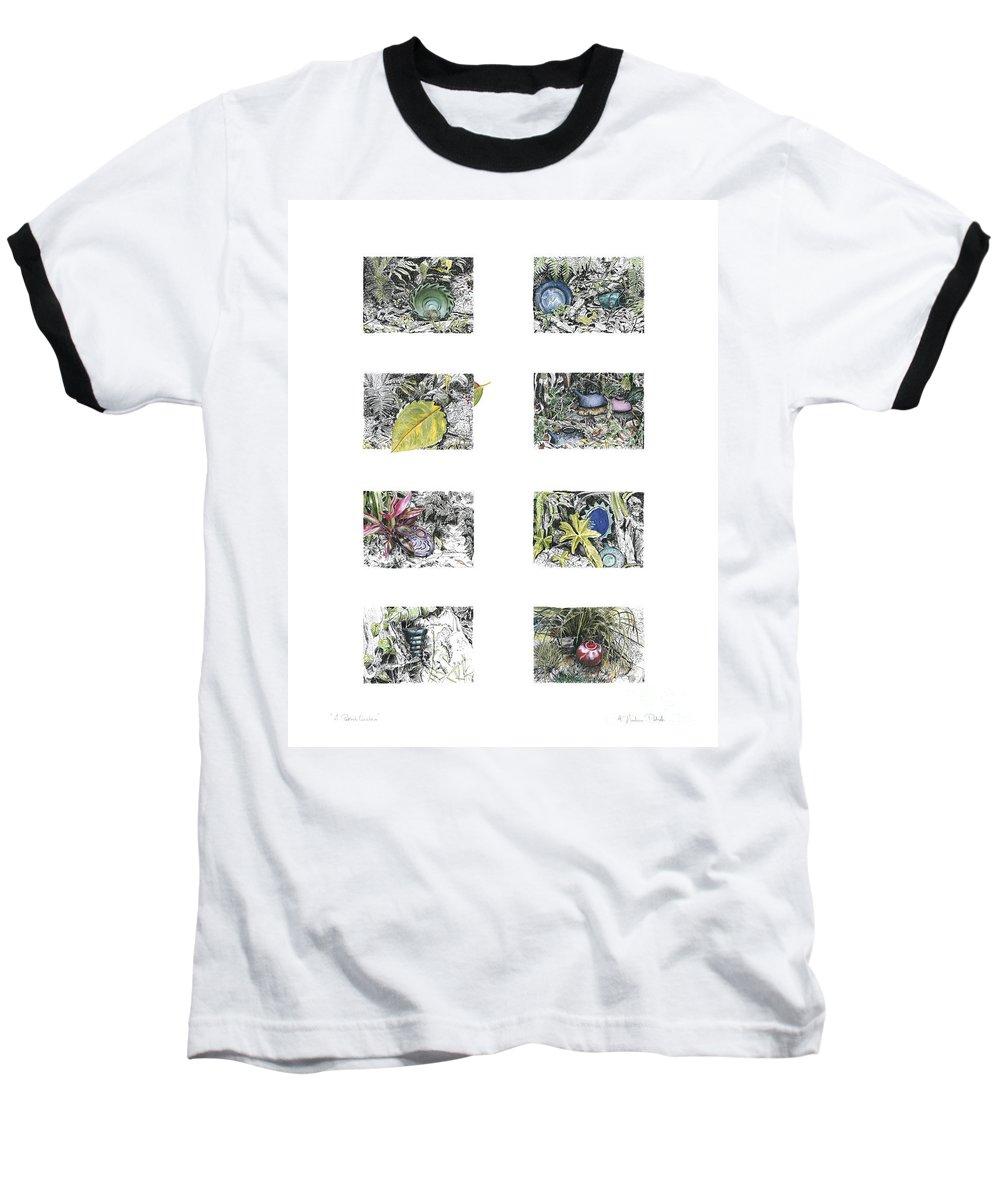 Tropical Baseball T-Shirt featuring the drawing A Potters Garden by Kerryn Madsen-Pietsch