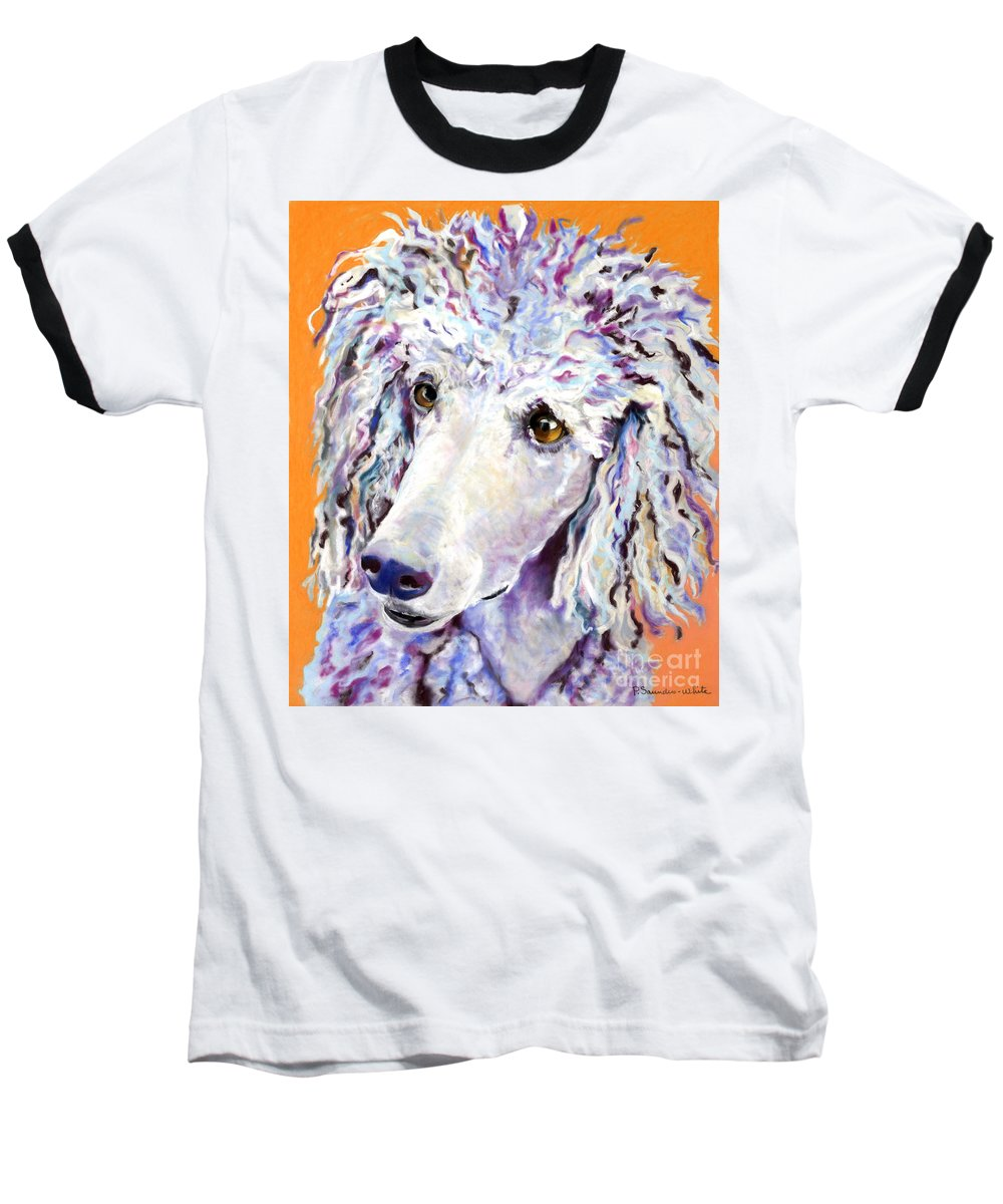 Standard Poodle Baseball T-Shirt featuring the pastel Above The Standard  by Pat Saunders-White