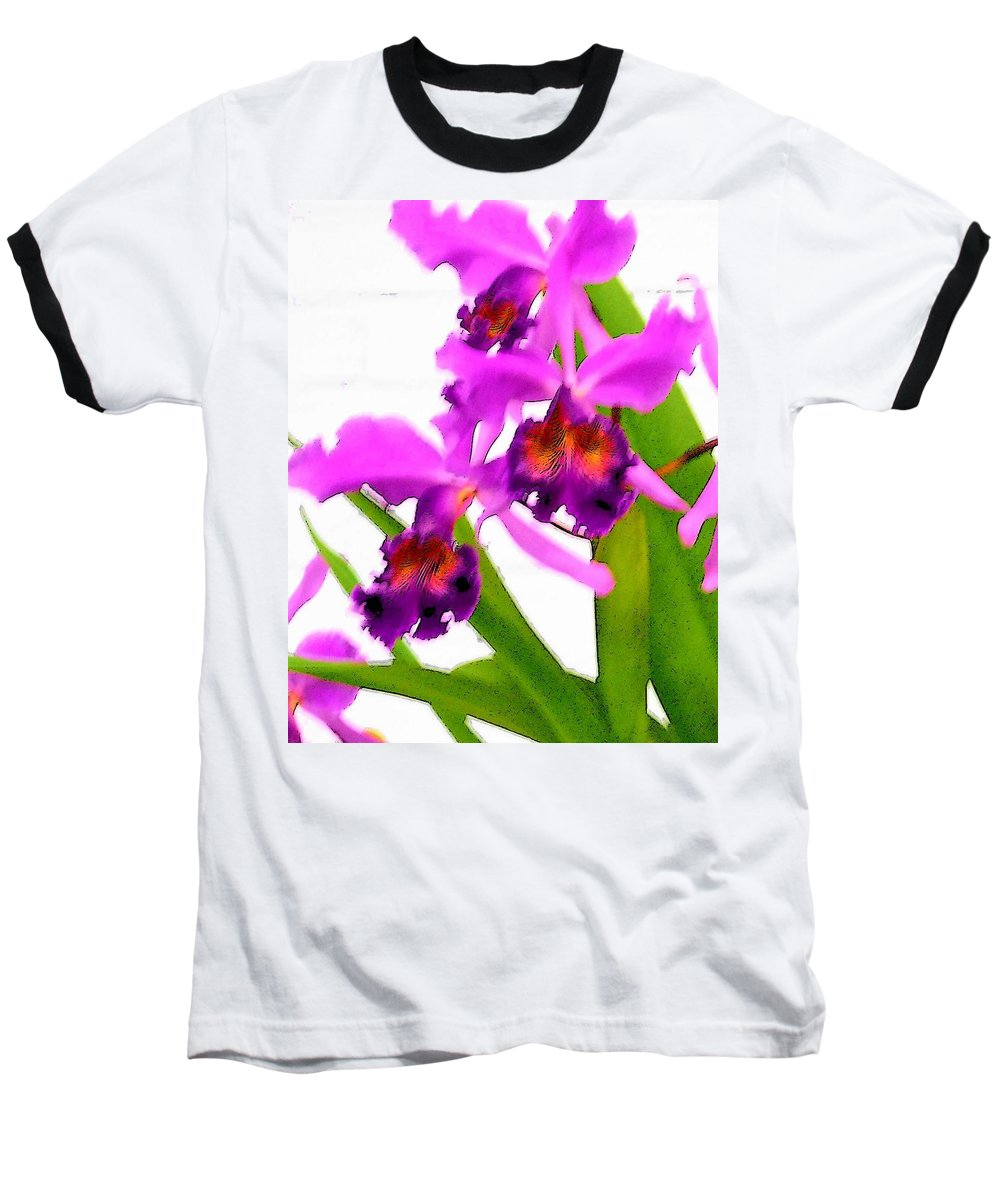 Flowers Baseball T-Shirt featuring the digital art Abstract Iris by Anita Burgermeister