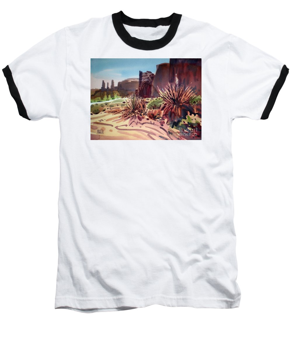 Monument Valley Baseball T-Shirt featuring the painting Across Monument Valley by Donald Maier