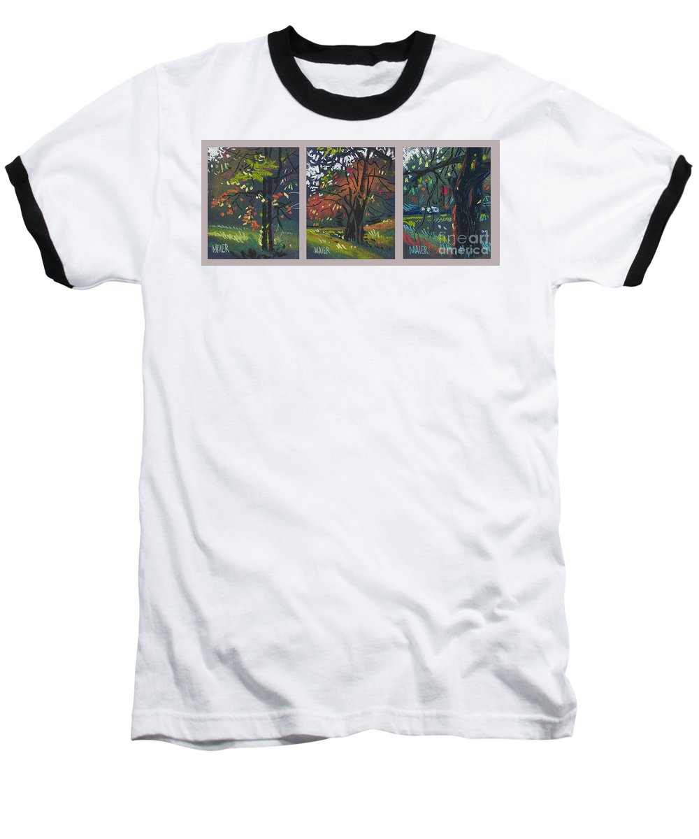 Autumn Foliage Baseball T-Shirt featuring the painting Across The Creek Triplet by Donald Maier
