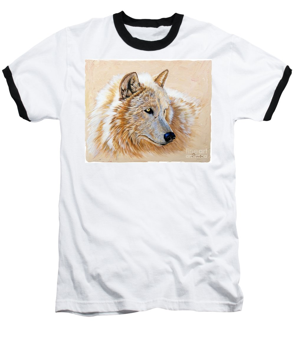 Acrylic Baseball T-Shirt featuring the painting Adobe White by Sandi Baker