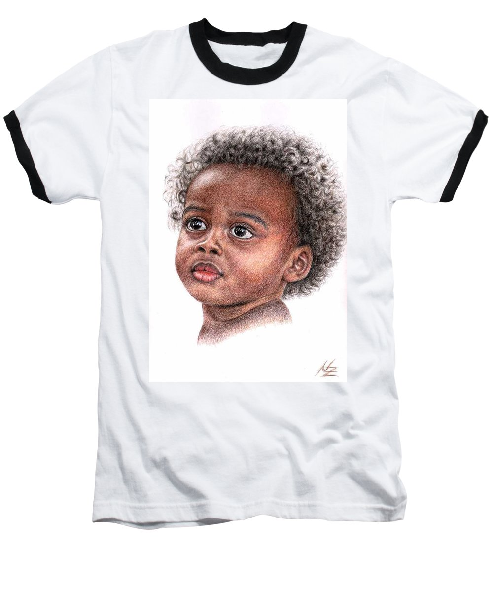 Child Baseball T-Shirt featuring the drawing African Child by Nicole Zeug