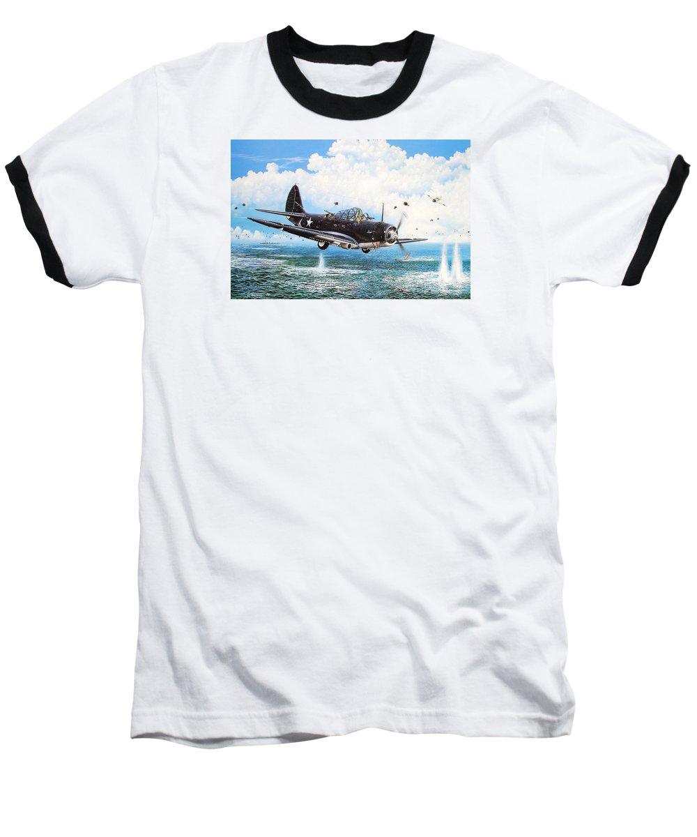 Military Baseball T-Shirt featuring the painting Against The Odds by Marc Stewart