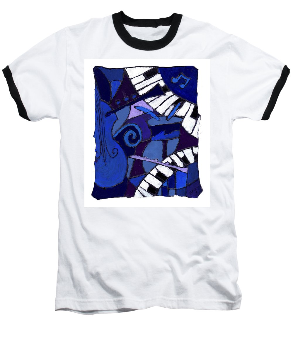 Jazz Baseball T-Shirt featuring the painting All That Jazz 3 by Wayne Potrafka