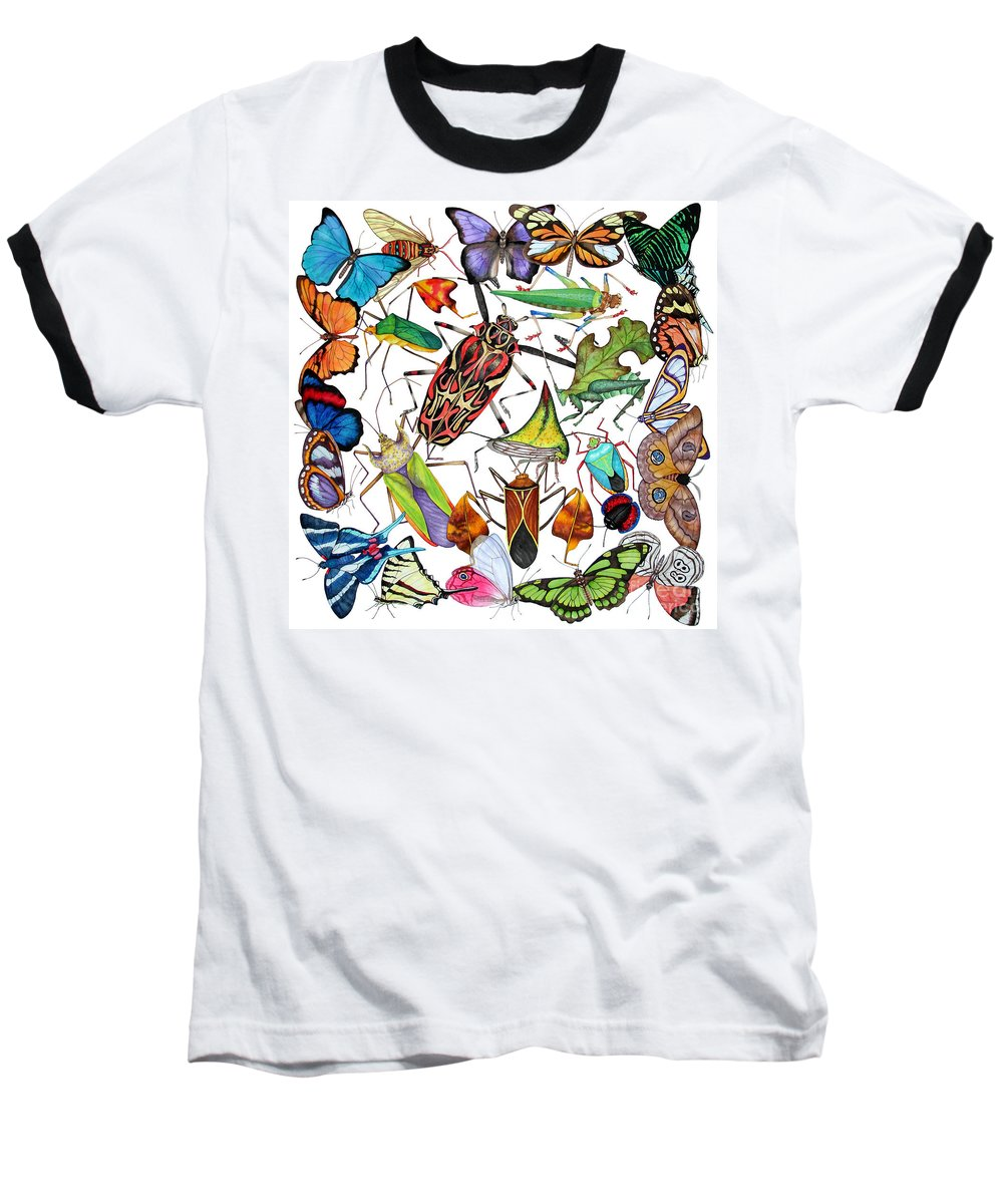 Insects Baseball T-Shirt featuring the painting Amazon Insects by Lucy Arnold