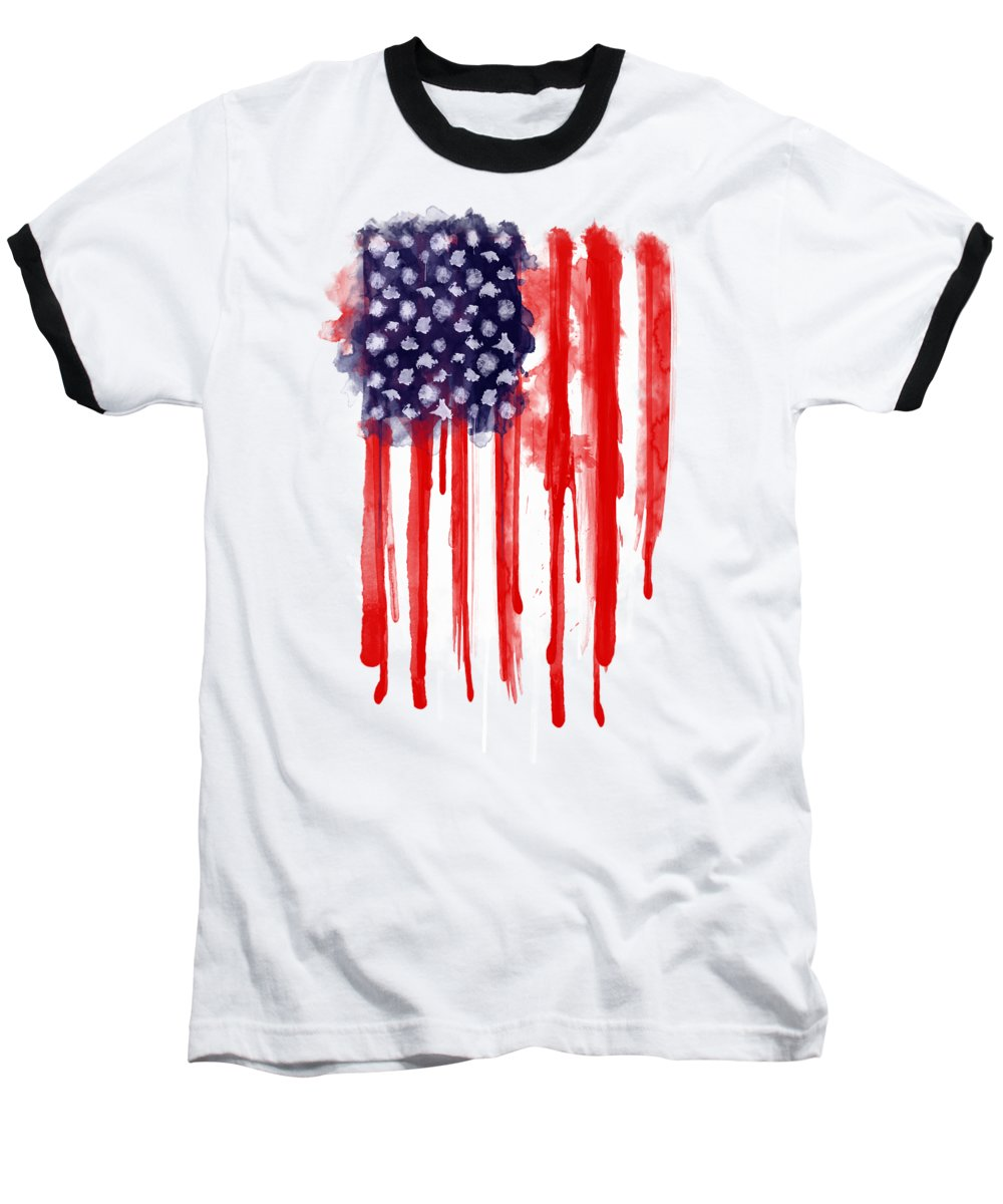 America Baseball T-Shirt featuring the painting American Spatter Flag by Nicklas Gustafsson