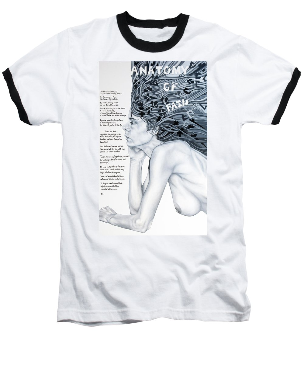 Poetry Baseball T-Shirt featuring the painting Anatomy Of Pain by Judy Henninger