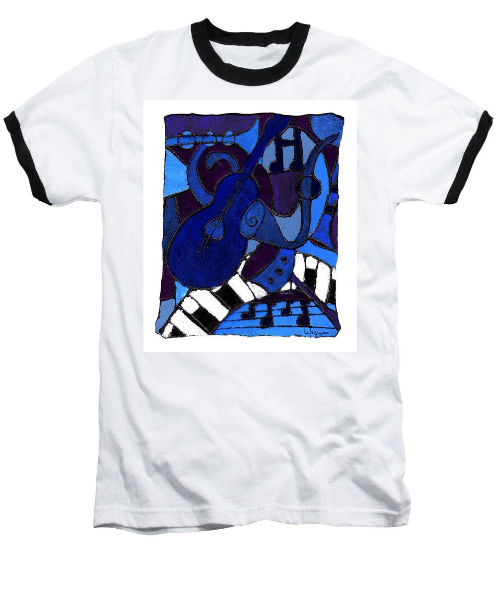 Blues Baseball T-Shirt featuring the painting and All that Jazz one by Wayne Potrafka