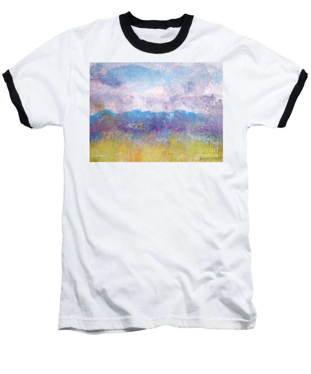 Abstract Baseball T-Shirt featuring the painting Arizona Impressions by Jan Bennicoff