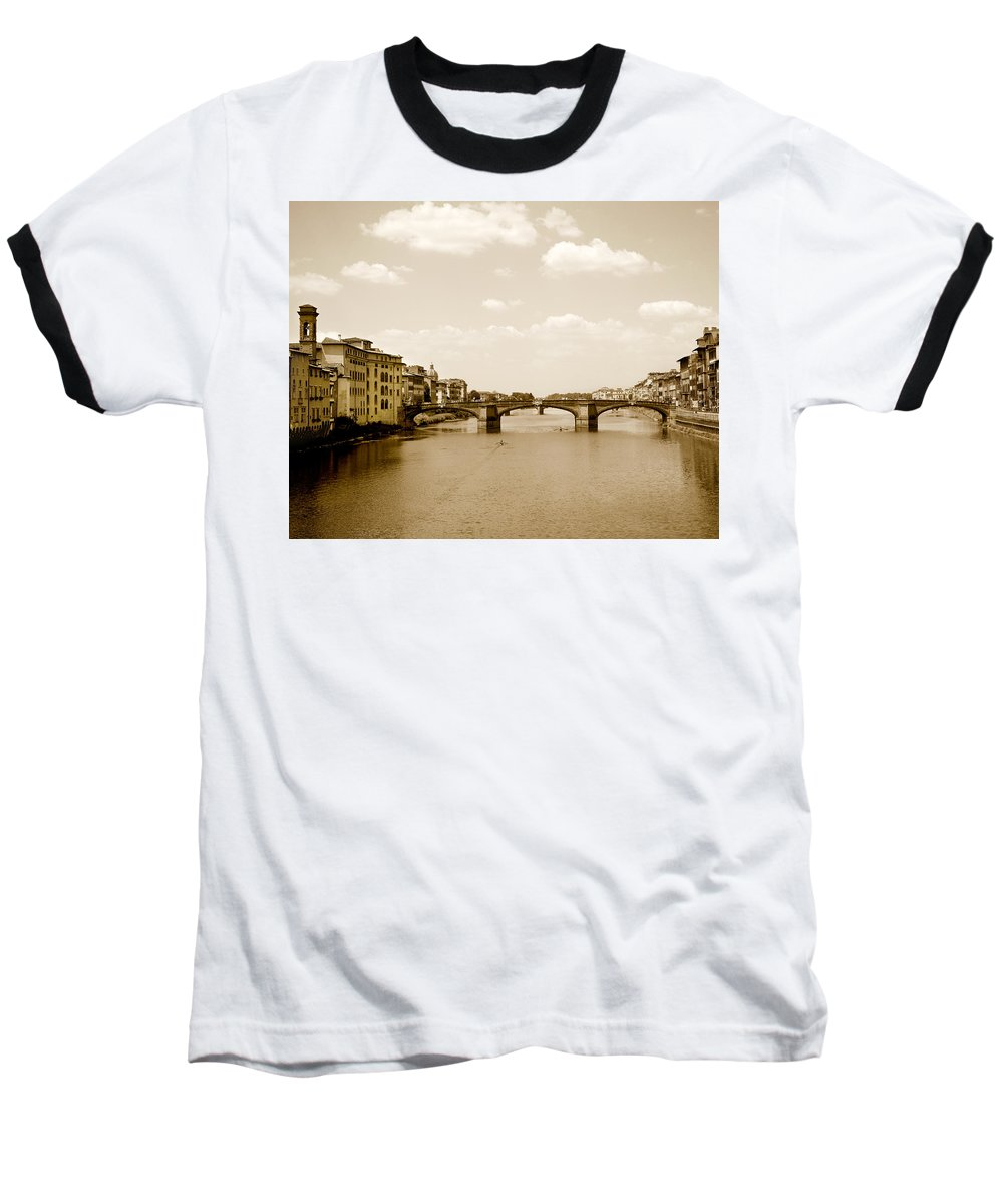 Italy Baseball T-Shirt featuring the photograph Arno River Florence by Marilyn Hunt
