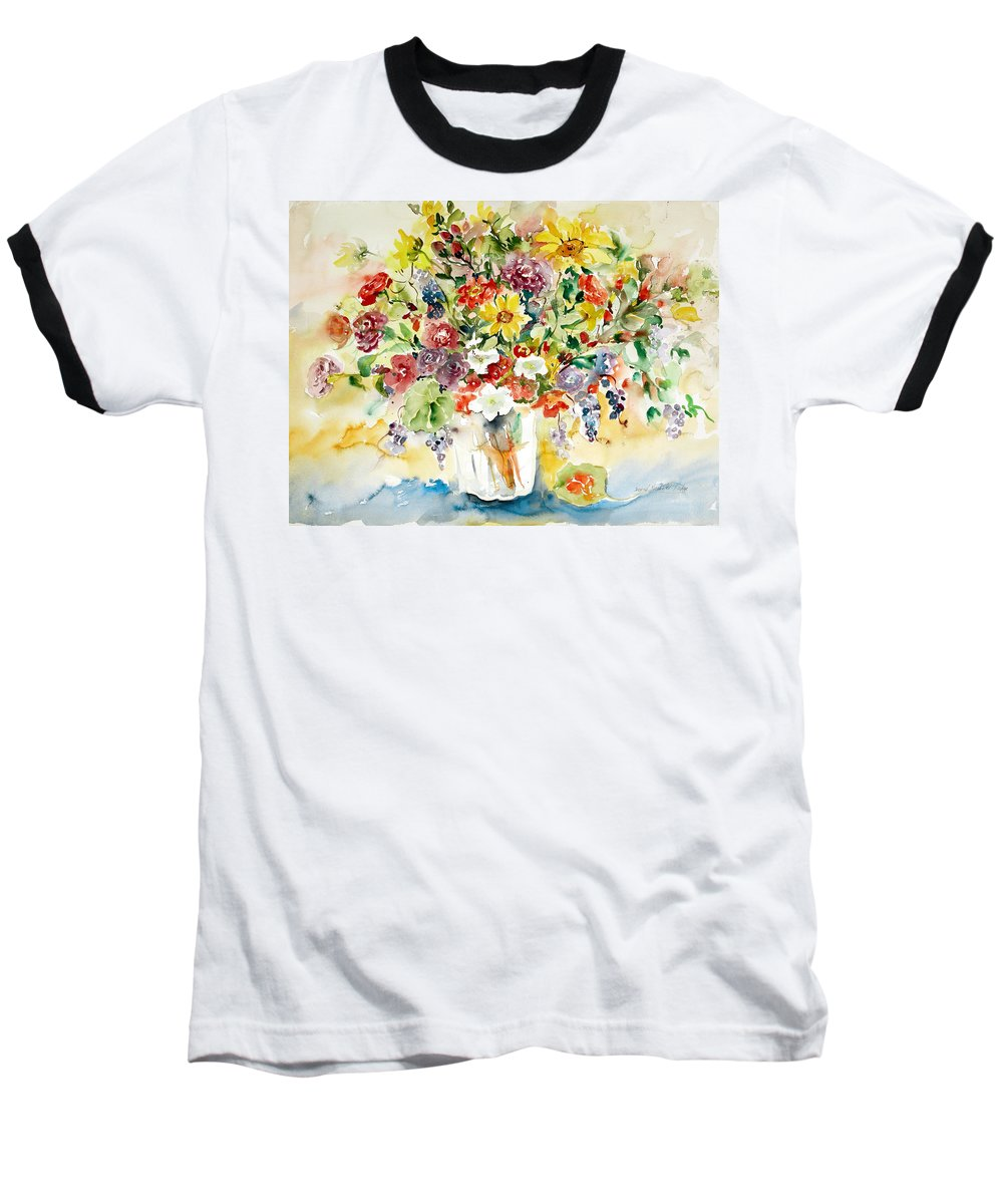 Watercolor Baseball T-Shirt featuring the painting Arrangement IIi by Alexandra Maria Ethlyn Cheshire