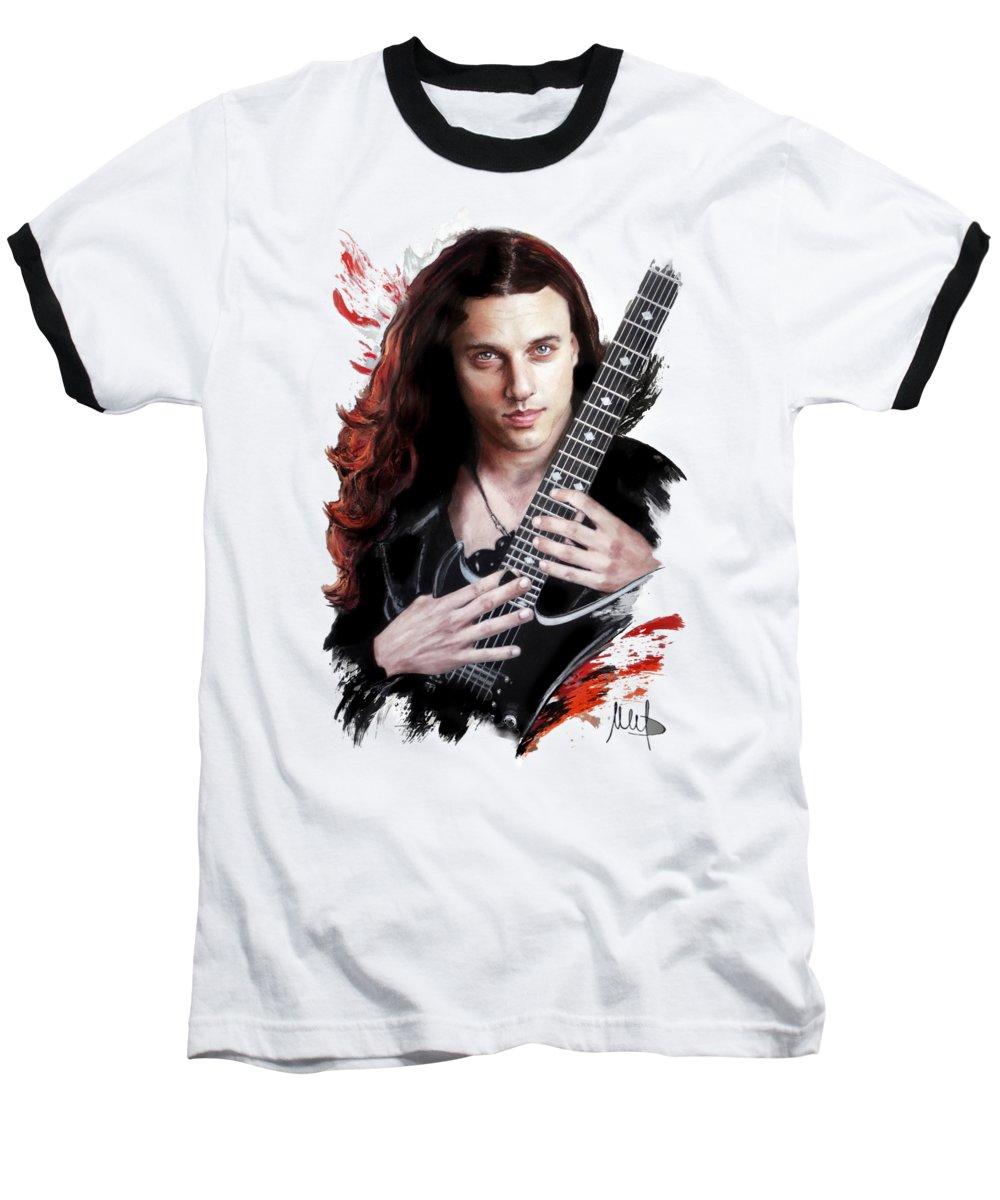 Chuck Schuldiner Baseball T-Shirt featuring the pastel Chuck Schuldiner by Melanie D
