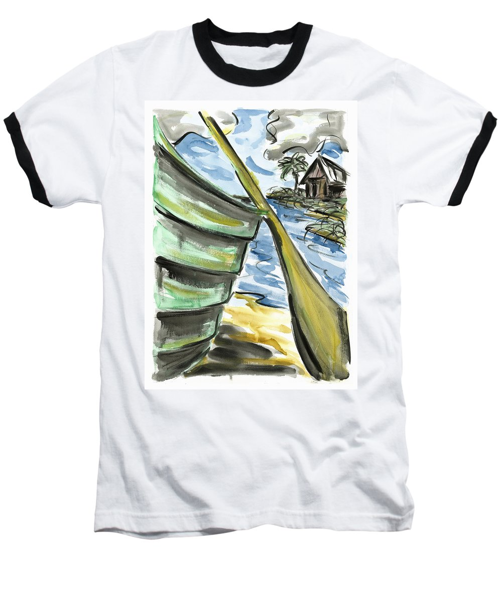 Seascape Baseball T-Shirt featuring the painting Ashore by Robert Joyner