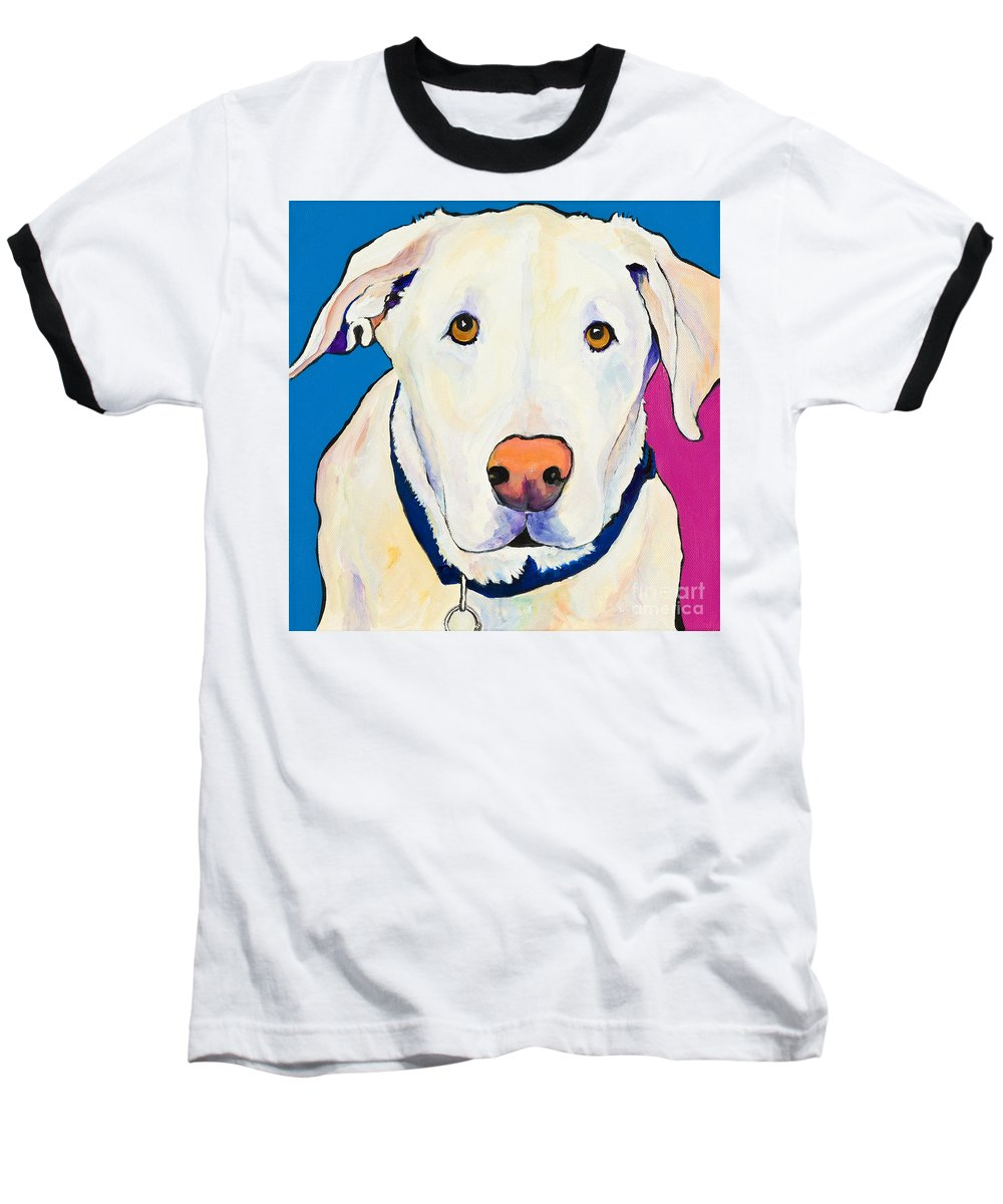 White Lab Yellow Lab Animal Paintings Golden Eyes Square Format Dogs Pets Rescued Baseball T-Shirt featuring the painting Aslinn by Pat Saunders-White