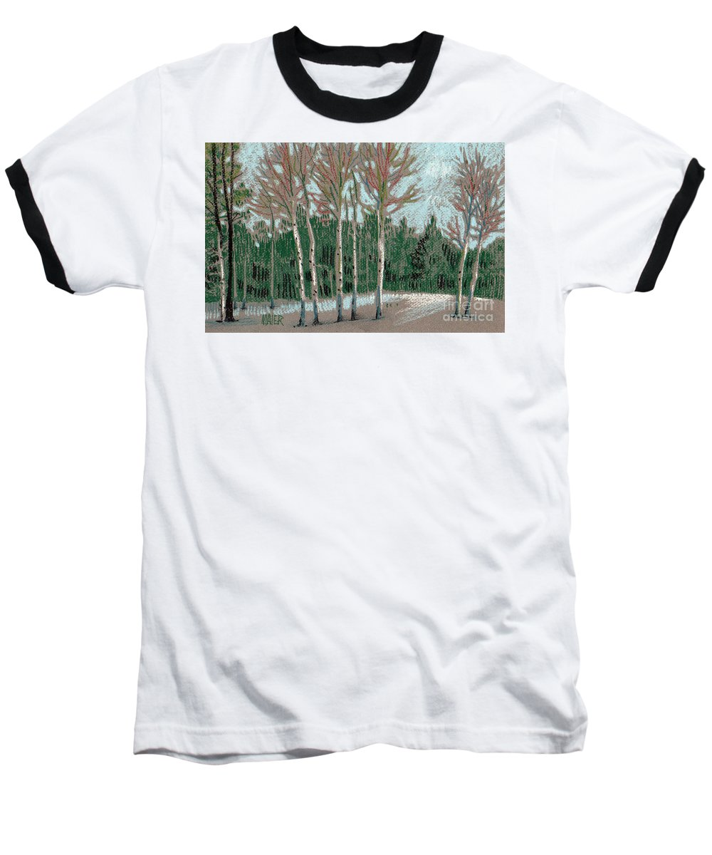 Aspens Baseball T-Shirt featuring the drawing Aspen In The Snow by Donald Maier