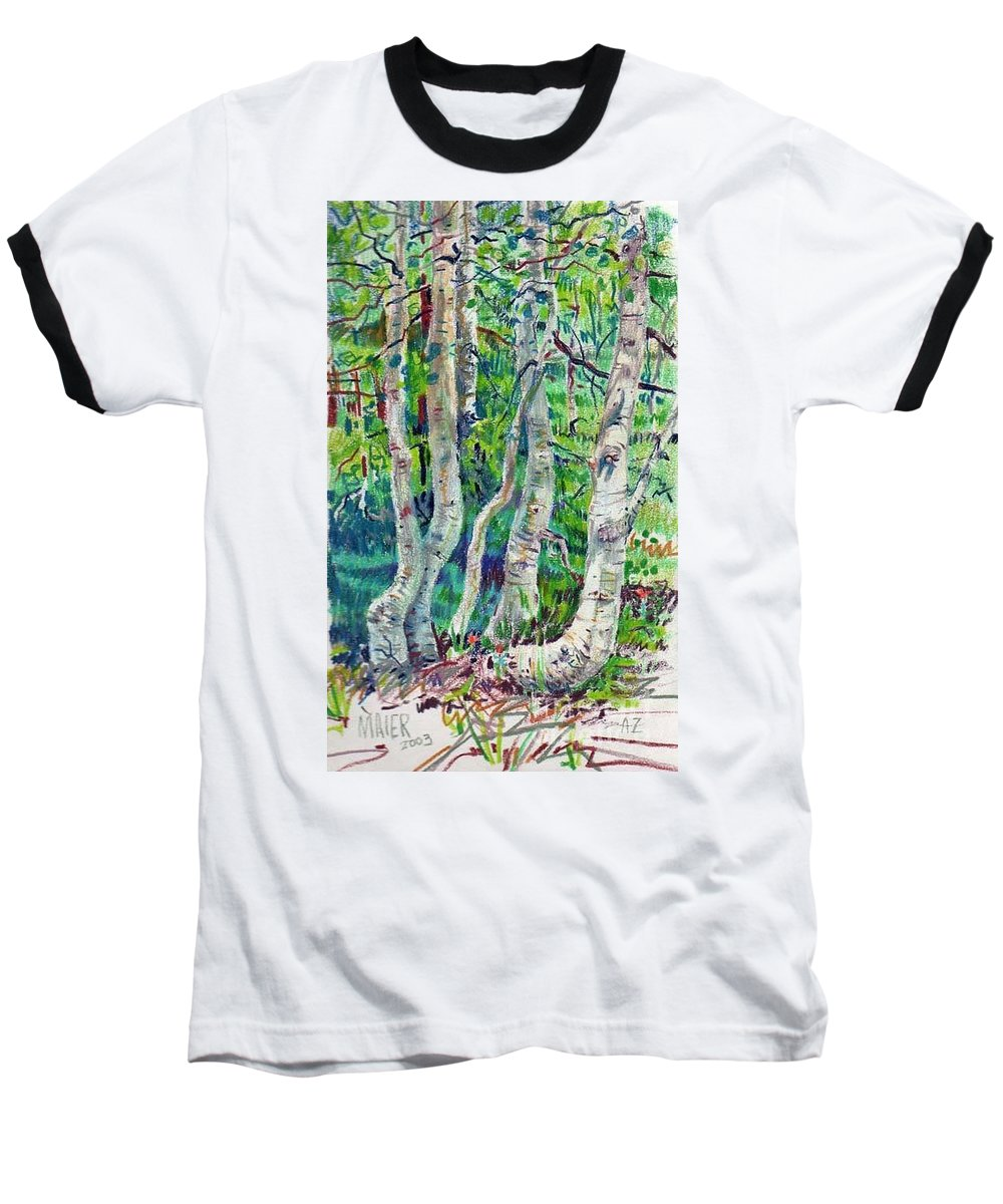 Aspens Baseball T-Shirt featuring the drawing Aspens by Donald Maier
