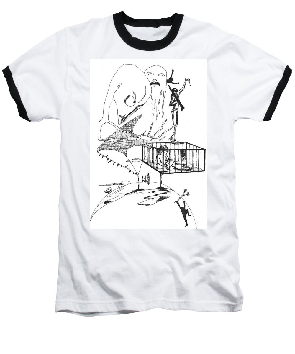 Drawing Pen Automatism Baseball T-Shirt featuring the drawing Automatism by Veronica Jackson