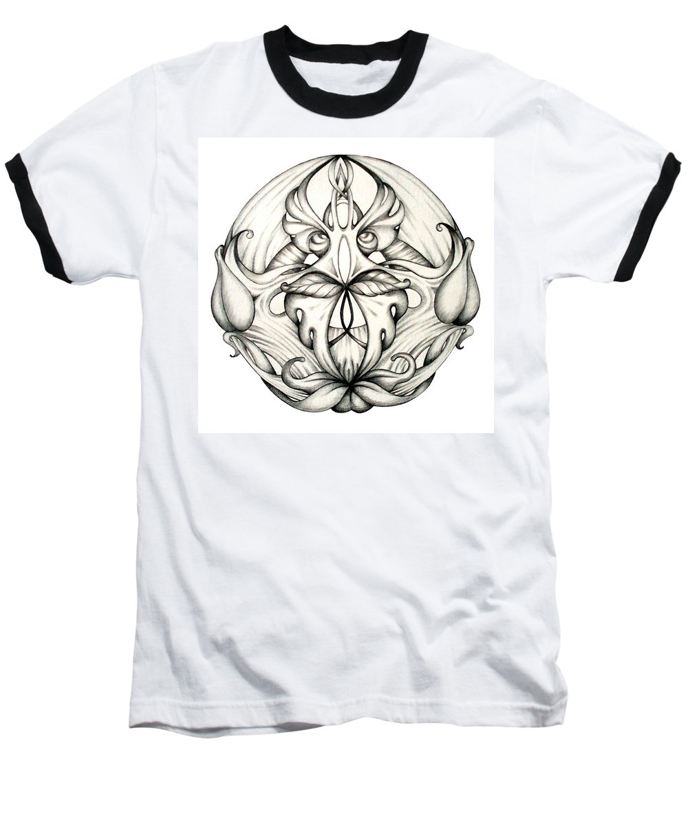 Mandala Baseball T-Shirt featuring the drawing Awakening by Shadia Derbyshire