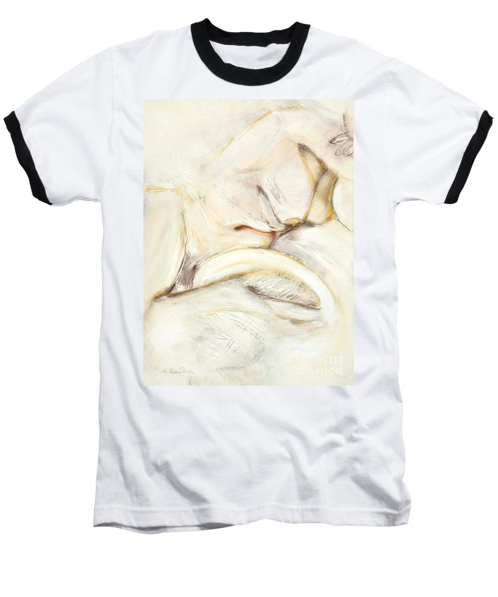Female Baseball T-Shirt featuring the drawing Award Winning Abstract Nude by Kerryn Madsen-Pietsch