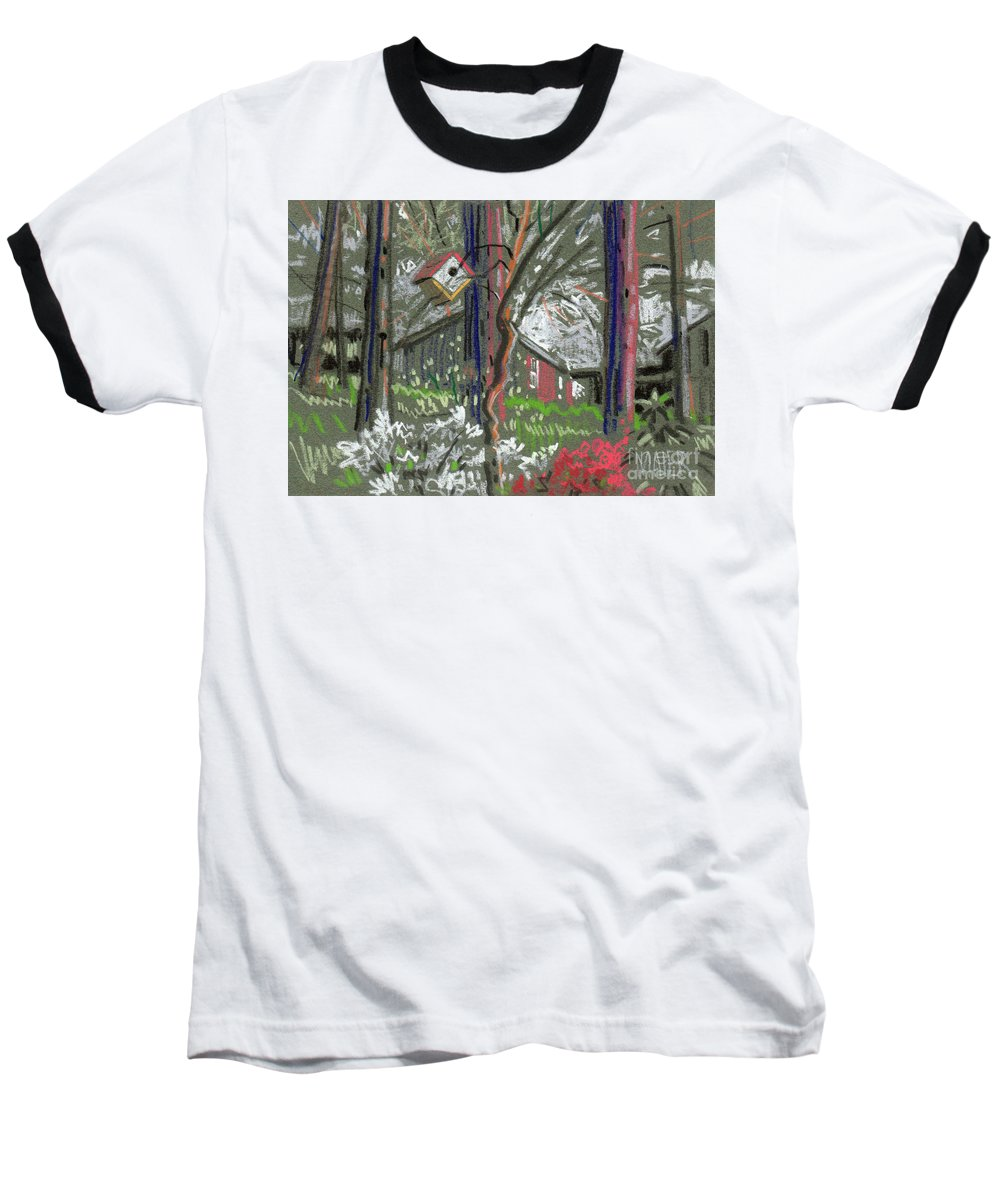 Azalea Baseball T-Shirt featuring the drawing Azaleas In Spring by Donald Maier