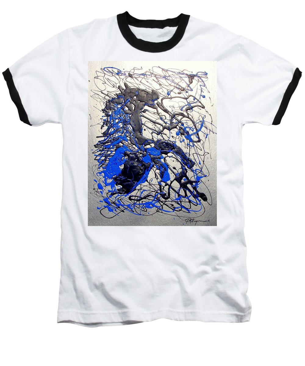 Stallion Horse Baseball T-Shirt featuring the painting Azul Diablo by J R Seymour