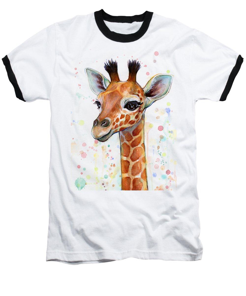 Watercolor Baseball T-Shirt featuring the painting Baby Giraffe Watercolor by Olga Shvartsur