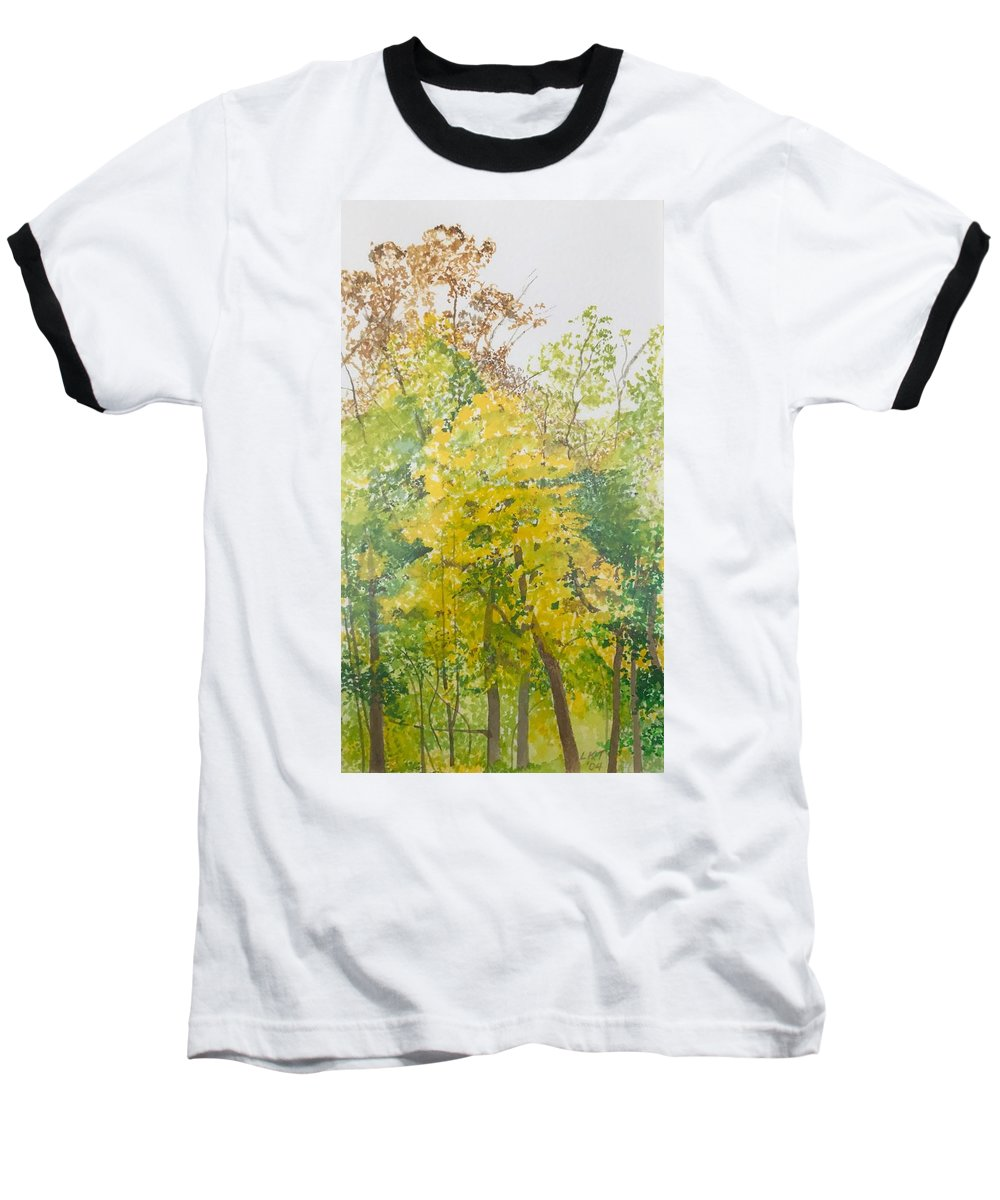 Autumn Baseball T-Shirt featuring the painting Backyard by Leah Tomaino
