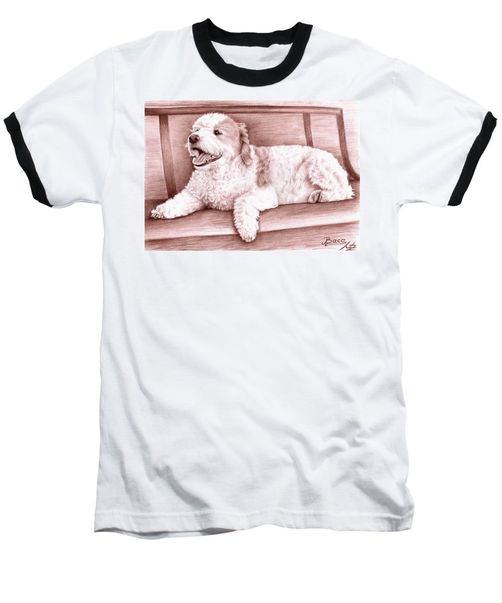 Dog Baseball T-Shirt featuring the drawing Baco by Nicole Zeug