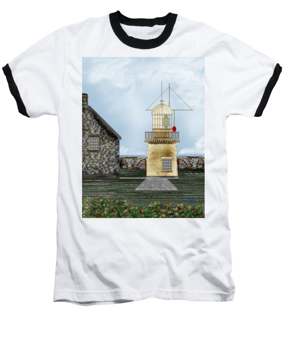Lighthouse Baseball T-Shirt featuring the painting Ballinacourty Lighthouse At Waterford Ireland by Anne Norskog