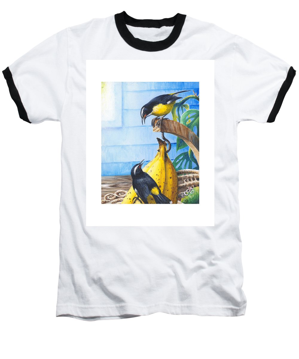 Chris Cox Baseball T-Shirt featuring the painting Bananaquits And Bananas by Christopher Cox