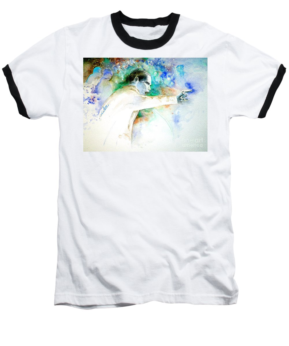 Portrait Barack Obama Baseball T-Shirt featuring the painting Barack Obama Pointing At You by Miki De Goodaboom